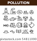 Pollution of Environment Vector Thin Line Icons Set 54811090