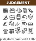 Judgement, Court Process Vector Thin Line Icons Set 54811107