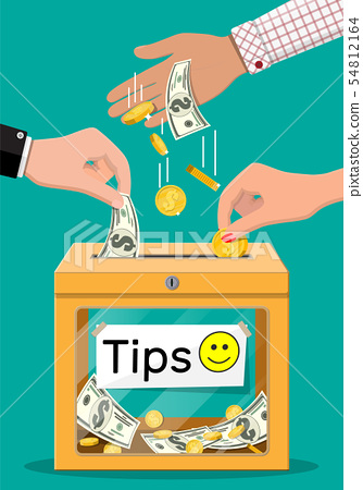 Orange tip box full of cash. 54812164