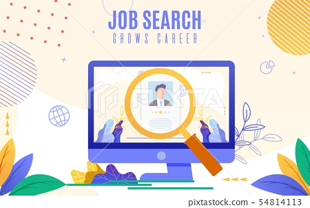 Flat Banner Is Written Job Search Grows Career Stock Illustration 54814113 Pixta
