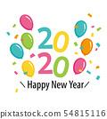 氣球和五彩紙屑2020新年快樂 54815116