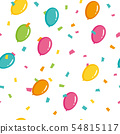 無縫模式氣球和五彩紙屑 54815117