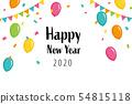 氣球和五彩紙屑2020新年快樂 54815118