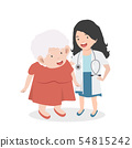 Woman Doctor taking care of patient old woman 54815242