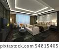 Hotel Room Interior 3D Illustration Photorealistic Rendering 54815405
