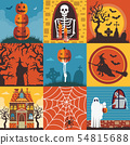 Halloween Creepy Posters and Cards Template Set 54815688