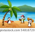 Cute cartoon penguins in summer holiday 54816720