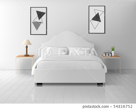 Bedroom interior, home or hotel empty apartment 54816752