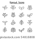 Sprout icon set in thin line style 54816808