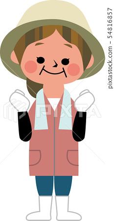 농가 여성의 승리의 포즈 54816857