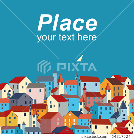 Template with sea, colorful houses and sample text. 54817324