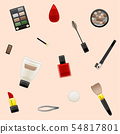 Cosmetics pattern on beige background 54817801
