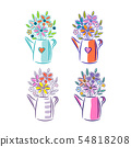 Bouquet of flowers in a watering can. Cute floral illustration for postcards isolated on white 54818208