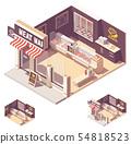 Vector isometric butcher shop interior 54818523
