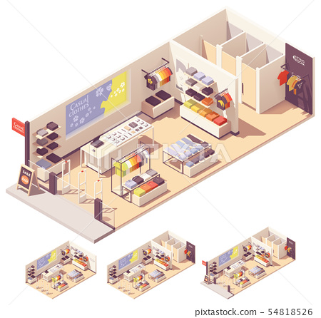Vector isometric clothing store interior 54818526