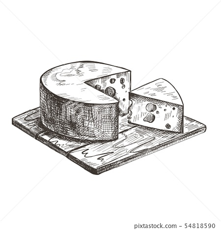 Cheese lies on a wooden cutting board. Vector retro illustration. 54818590
