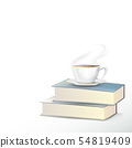 hot tea cup with books on white background 54819409