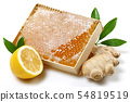 Honeycomb, fresh ginger and lemon with leaves 54819519