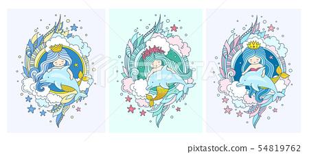 Little kawaii princess mermaids, dolphins, fish. 54819762