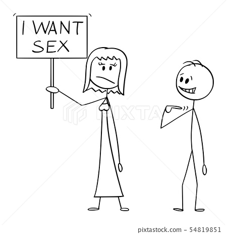 Vector Cartoon of Frustrated Woman Holding I Want Sex Sign, Man Offers Yourself as Lover 54819851