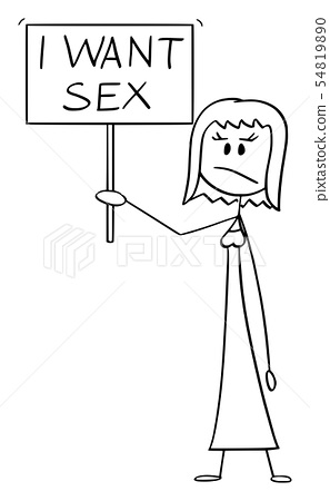 Vector Cartoon of Frustrated Woman Holding I Want Sex Sign 54819890