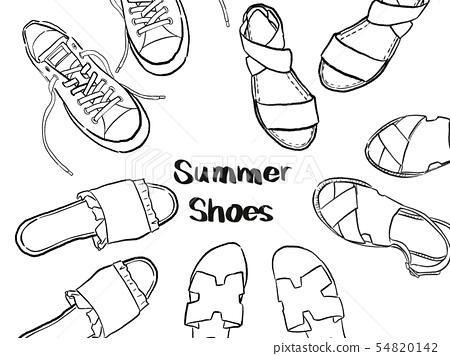 봄 여름 신발 흑백 _ 그린 바람 54820142