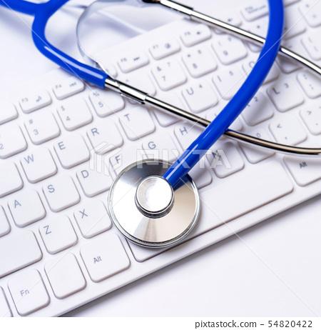 聽診器 鍵盤 剪貼板 醫療 頂視圖 flatlay stethoscope layout 長期介護 54820422