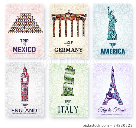 Silhouettes of sightseeing attractions of countries. 54820525