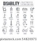 Set of equipment for disabled people thin line icons. 54820973