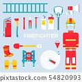 Firefighter equipment and tools flat icons. 54820993