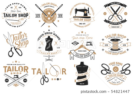 Tailor shop badge. Vector. Concept for shirt, print, stamp label or tee. Vintage typography design 54821447
