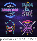 Tailor shop neon design or emblem. Vector. Night neon signboard. Vintage typography design with 54821511