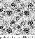 Sunflowers seamless engraved ink pen pattern 54822033