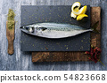 raw fresh mackerel on a slate tray 54823668