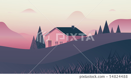 Small house behind small hills landscape 54824488