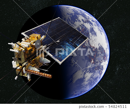 Modern weather scientific satellite at the Earth 54824511
