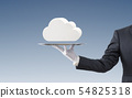 Businessman offering white cloud on silver tray 54825318