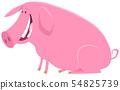 happy pig animal character cartoon illustration 54825739
