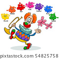 basic colors educational worksheet with clown 54825758