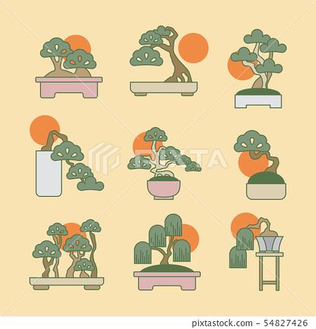 Bonsai tree, outline icon set, Japanese miniature  54827426