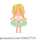 Blond Hair girl stay in inflatable circle. Child Relax at Summer. Pool Party Girl with Inflatable 54827774