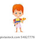 Smiling Cute Red Hair Baby Boy With a Toy Water Gun Posing. Pool Party Character with a Toygun 54827776