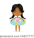 Cute African-American girl stay in inflatable circle. Child Relax at Summer. Pool Party Girl with 54827777
