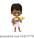 Smiling Cute African-American Baby Boy With a Toy Water Gun Posing. Pool Party Character with a 54827778