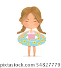 Brown Hair girl stay in inflatable circle. Child Relax at Summer. Pool Party Girl with Inflatable 54827779