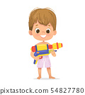 Smiling Cute Brown Hair Baby Boy With a Toy Water Gun Posing. Pool Party Character with a Toygun 54827780