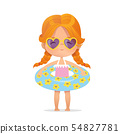 Red Hair girl Wearing sunglasses in inflatable circle. Child Relax at Summer. Pool Party with 54827781