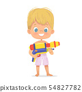 Smiling Cute Blond Baby Boy With a Toy Water Gun Posing. Pool Party Character with a Toygun. Beach 54827782