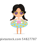 Dark Hair girl Wearing sunglasses in inflatable circle. Child Relax at Summer. Pool Party with 54827787