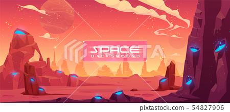 Space background, alien fantasy planet landscape 54827906